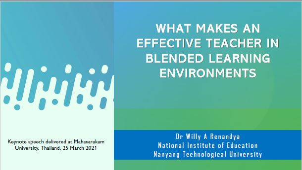 What makes an effective teacher in blended learning environments?